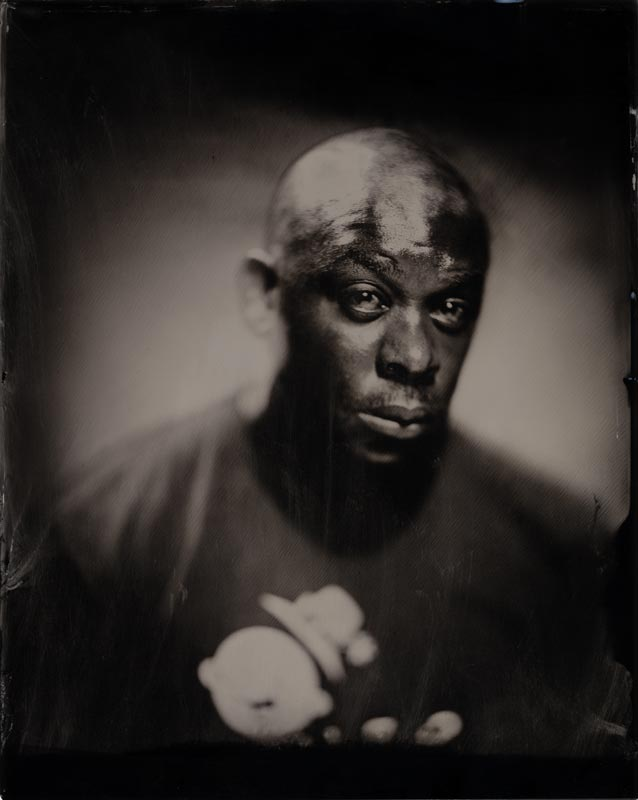 wet plate collodion portrait of homeless man shawn j